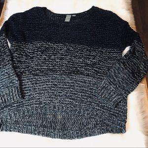 Quinn Open Knit Cropped High Low Long Slv Sweater